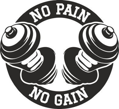 Принт Футболка No pain no gain гантели - FatLine