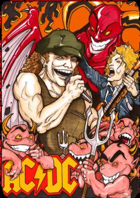 Принт Футболка Поло AC DC Art Banner - FatLine