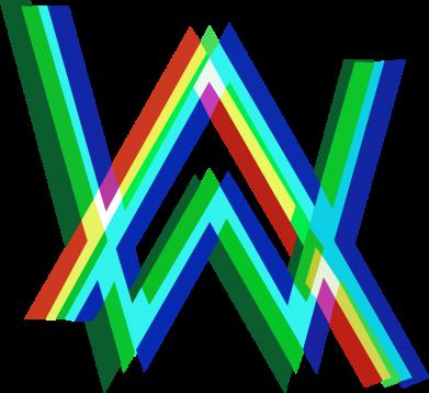 Принт Жіноча футболка Alan Walker multicolored logo, Фото № 1 - FatLine