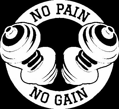 Принт Мужская толстовка на молнии No pain no gain гантели - FatLine