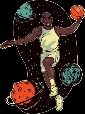 Принт Женская футболка Basketball player and space, Фото № 1 - FatLine