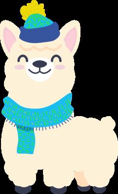 Принт Женская футболка Llama in a blue hat, Фото № 1 - FatLine