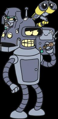 Принт Чоловіча футболка Bender and the heads of robots, Фото № 1 - FatLine