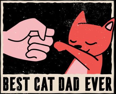 Принт Женская футболка Best cat dad ever, Фото № 1 - FatLine
