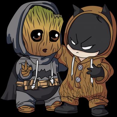 Принт Женская футболка Бэтмен и грут, Фото № 1 - FatLine