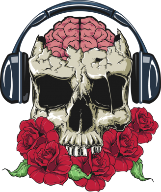 Принт Шапка Skull and roses - FatLine