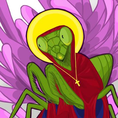 Принт Жіноча футболка Святий богомол, Фото № 1 - FatLine