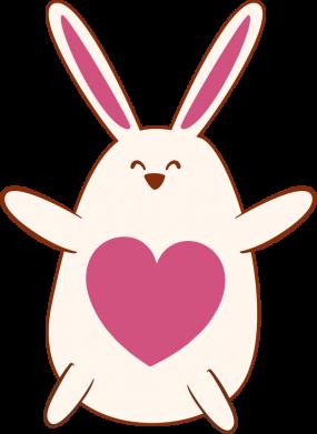 Принт Женская футболка Rabbit with a pink heart, Фото № 1 - FatLine