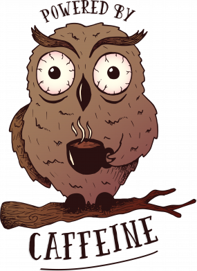 Принт Жіноча футболка Caffeine Owl, Фото № 1 - FatLine