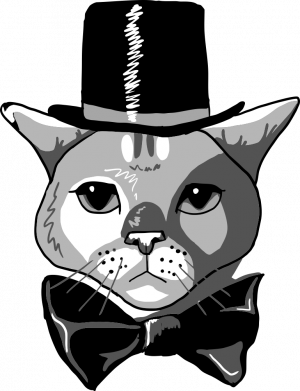 Принт Жіноча футболка Black and white cat intellectual, Фото № 1 - FatLine
