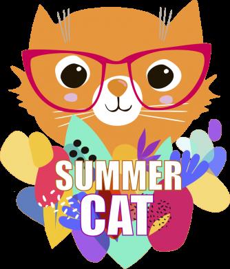 Принт Женская футболка Summer cat, Фото № 1 - FatLine