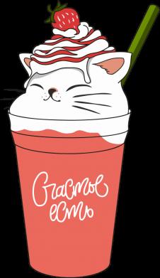 Принт Жіноча футболка Cocktail cat and strawberry, Фото № 1 - FatLine