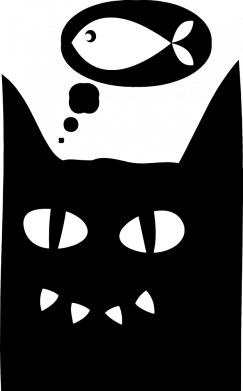 Принт Женская футболка Cat dreams of a fish, Фото № 1 - FatLine