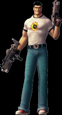 Принт Женская футболка Serious Sam with guns, Фото № 1 - FatLine