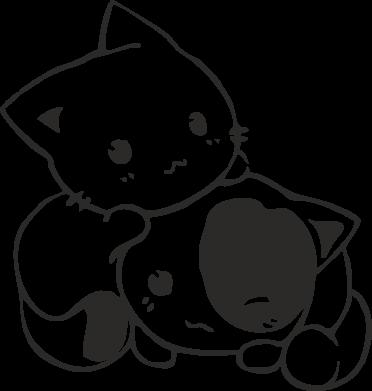 Принт Футболка с длинным рукавом котята - FatLine
