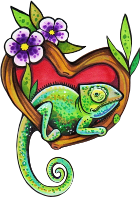 Принт Кепка Chameleon on a branch, Фото № 1 - FatLine