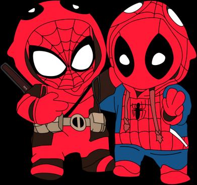 Принт Женская футболка Дэдпул и Человек паук, Фото № 1 - FatLine