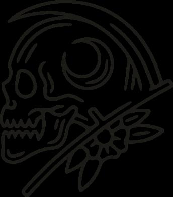 Принт Кружка 320ml Skull with scythe, Фото № 1 - FatLine