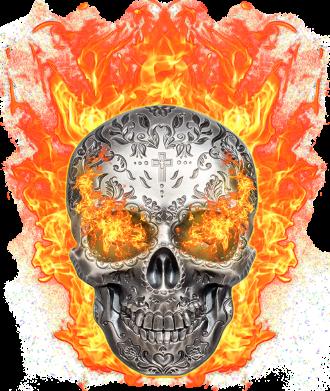 Принт Женская футболка Metal skull in flame of fire, Фото № 1 - FatLine