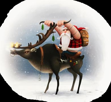 Принт Жіноча футболка Santa in tattoos riding a deer, Фото № 1 - FatLine