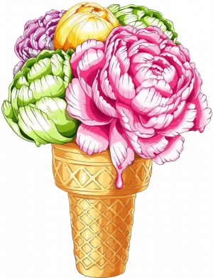 Принт Жіноча футболка Ice cream flowers, Фото № 1 - FatLine