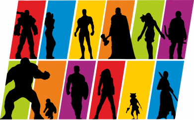 Принт Жіноча футболка Avengers silhouette, Фото № 1 - FatLine