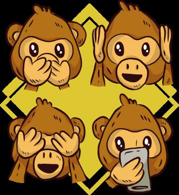 Принт Кепка Monkey See Hear Talk, Фото № 1 - FatLine