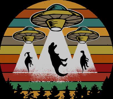Принт Женская футболка Aliens and dinosaur, Фото № 1 - FatLine