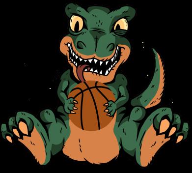 Принт Женская футболка Dinosaur and basketball, Фото № 1 - FatLine
