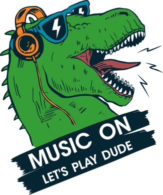 Принт Женская майка The dinosaur yells! music on  let's play dude, Фото № 1 - FatLine