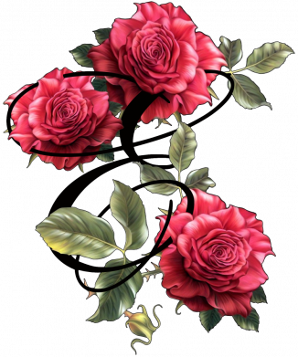 Принт Женская футболка Буква Е с розами, Фото № 1 - FatLine