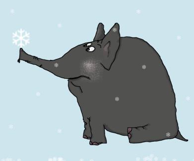 Принт Жіноча футболка Elephant and snowflakes, Фото № 1 - FatLine
