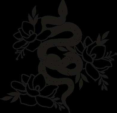 Принт Кружка 320ml Snake with flowers, Фото № 1 - FatLine