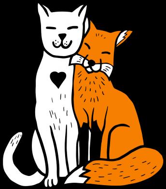 Принт Чохол для Meizu E3 Fox and cat heart - FatLine
