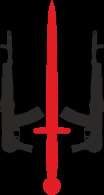Принт Мужская футболка  с V-образным вырезом Герб України з автоматами та мечем - FatLine