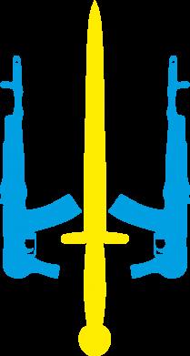Принт Женская толстовка Герб України з автоматами та мечем - FatLine