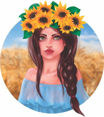 Принт Кепка Girl in a wreath of sunflowers, Фото № 2 - FatLine