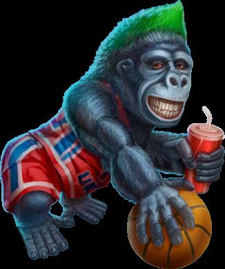 Принт Кепка Gorilla and basketball ball, Фото № 1 - FatLine