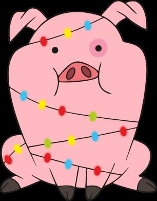 Принт Жіноча футболка Свиня обмотана гірляндою, Фото № 1 - FatLine