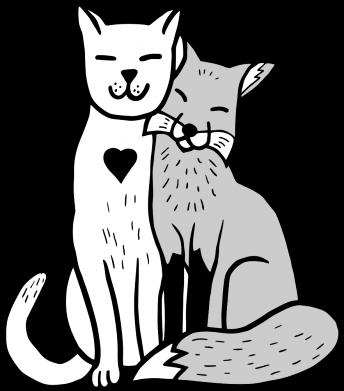 Принт Кепка Fox and cat heart, Фото № 1 - FatLine