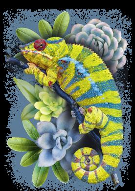Принт Жіноча футболка Collage with chameleon and succulents, Фото № 1 - FatLine