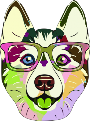 Принт Жіноча футболка Multi-colored dog with glasses, Фото № 1 - FatLine