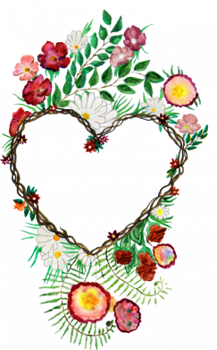 Принт Жіноча футболка Heart consisting of vines and flowers, Фото № 1 - FatLine