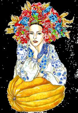 Принт Жіноча футболка Українка в вінку і вишиванці, Фото № 1 - FatLine