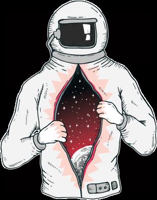 Принт Женская футболка Astronaut with spaces inside, Фото № 1 - FatLine