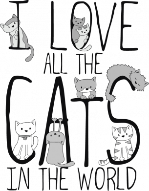 Принт Женская футболка I Love all the cats in the world, Фото № 1 - FatLine