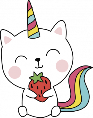 Принт Жіноча футболка Cat unicorn and strawberries, Фото № 1 - FatLine
