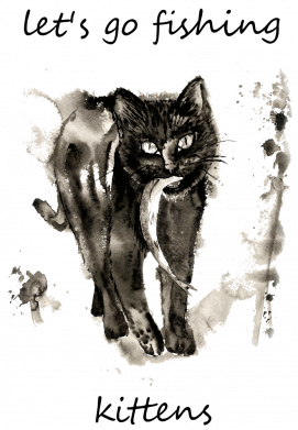 Принт Женская футболка Let's go fishing  kittens, Фото № 1 - FatLine