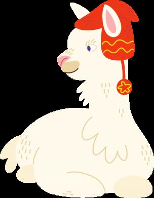 Принт Женская футболка Llama in a red hat, Фото № 1 - FatLine
