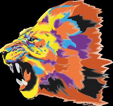 Принт Женская футболка Lion multicolor, Фото № 1 - FatLine
